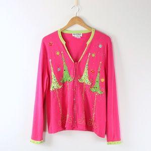 Jack B Quick Pink Beaded Embellished Christmas Tree Cardigan Sweater XL